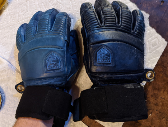 Gloves with darkened leather