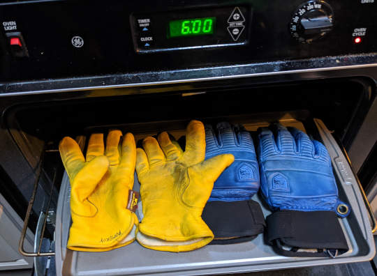 Gloves heading into the oven