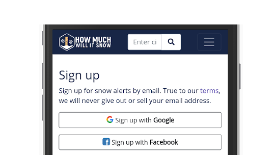sign-in screen with Google & Facebook
